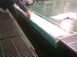 工場FRP床のドレイン漏洩修繕