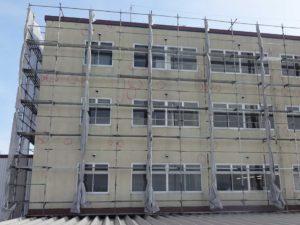 工場外壁ALC外壁クラック補修用マーキング